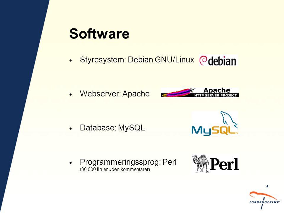 Software  Styresystem: Debian GNU/Linux  Webserver: Apache  Database: MySQL  Programmeringssprog: Perl (30.000 linier uden kommentarer)