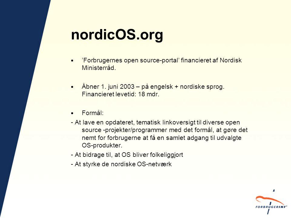 nordicOS.org  'Forbrugernes open source-portal' financieret af Nordisk Ministerråd.