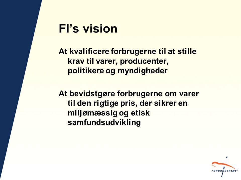 FI's vision At kvalificere forbrugerne til at stille krav til varer, producenter, politikere og myndigheder At bevidstgøre forbrugerne om varer til den rigtige pris, der sikrer en miljømæssig og etisk samfundsudvikling