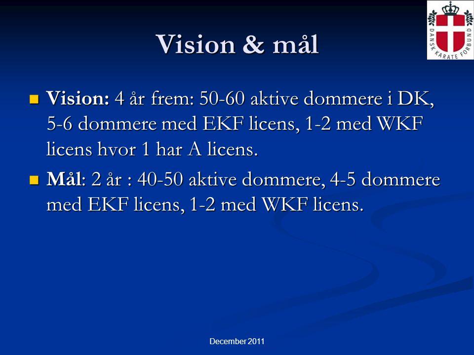 December 2011 Vision & mål  Vision: 4 år frem: 50-60 aktive dommere i DK, 5-6 dommere med EKF licens, 1-2 med WKF licens hvor 1 har A licens.