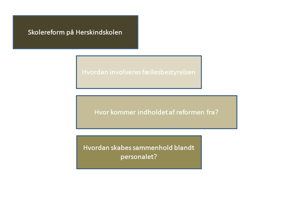 Skolereform på Herskindskolen Hvordan involveres fællesbestyrelsen Hvor kommer indholdet af reformen fra.