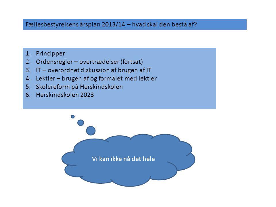 Fællesbestyrelsens årsplan 2013/14 – hvad skal den bestå af.