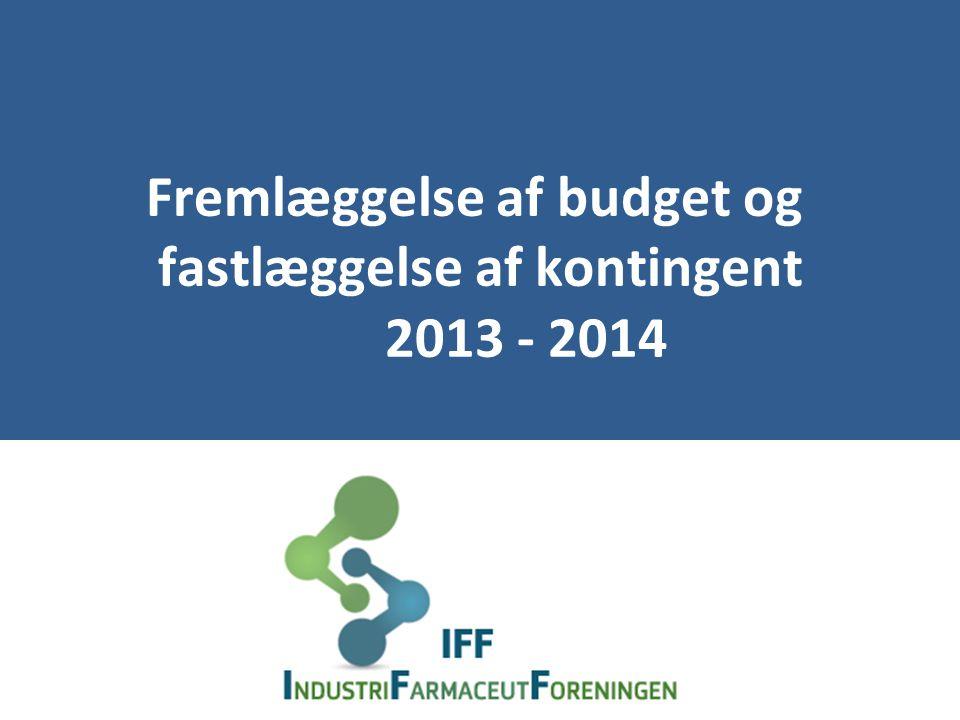 Fremlæggelse af budget og fastlæggelse af kontingent 2013 - 2014