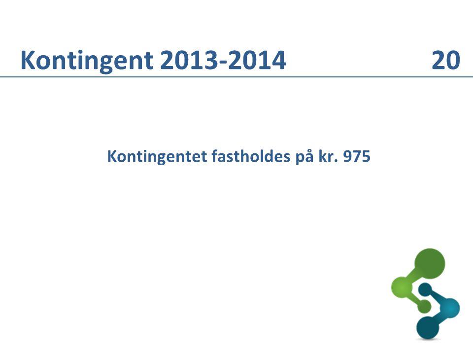 Kontingentet fastholdes på kr. 975 Kontingent 2013-2014 20