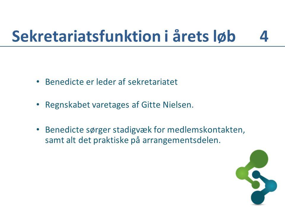 • Benedicte er leder af sekretariatet • Regnskabet varetages af Gitte Nielsen.