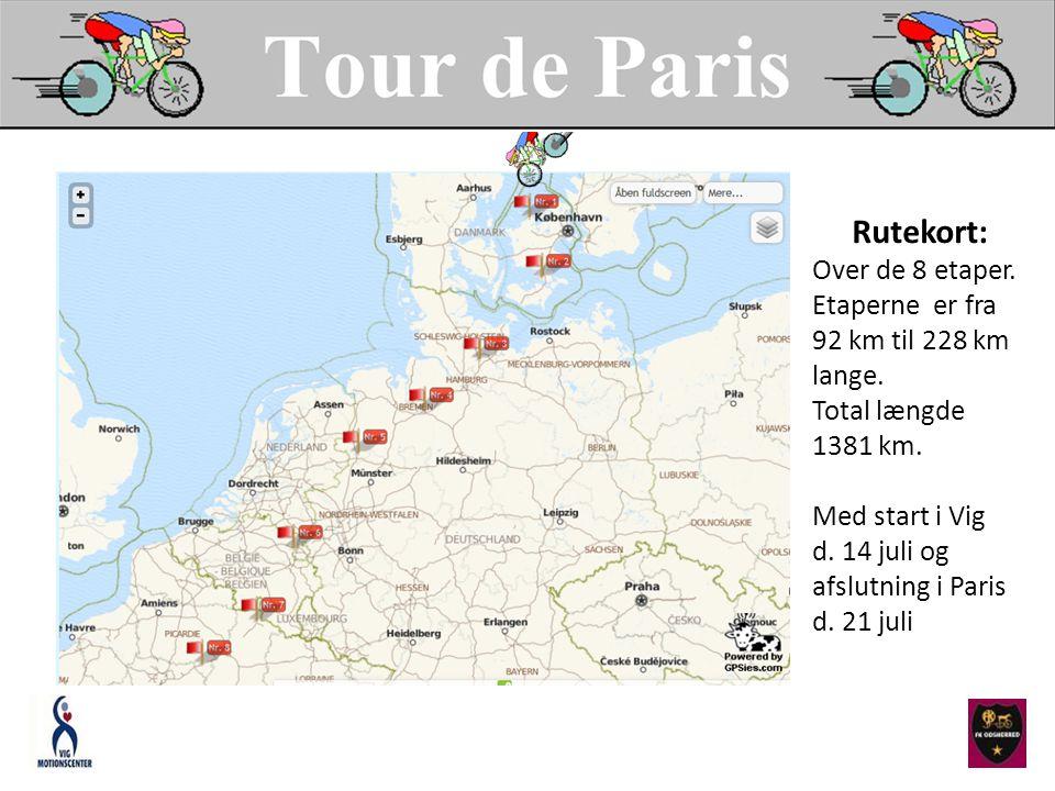 Rutekort: Over de 8 etaper. Etaperne er fra 92 km til 228 km lange.