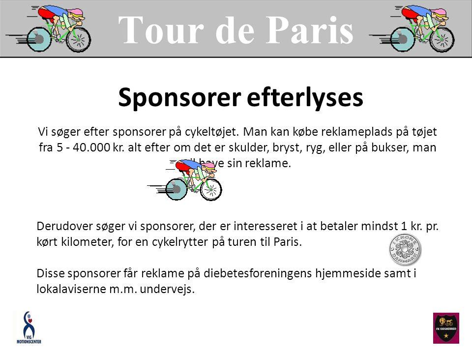 Vi søger efter sponsorer på cykeltøjet. Man kan købe reklameplads på tøjet fra 5 - 40.000 kr.