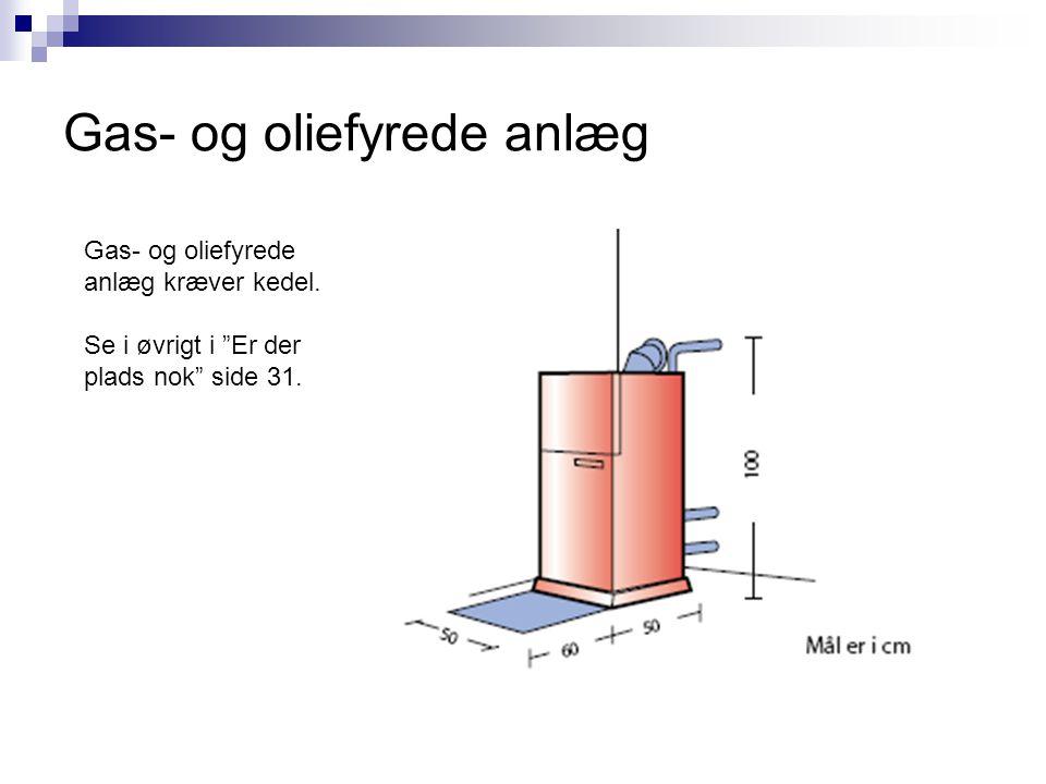 """Gas- og oliefyrede anlæg Gas- og oliefyrede anlæg kræver kedel. Se i øvrigt i """"Er der plads nok"""" side 31."""