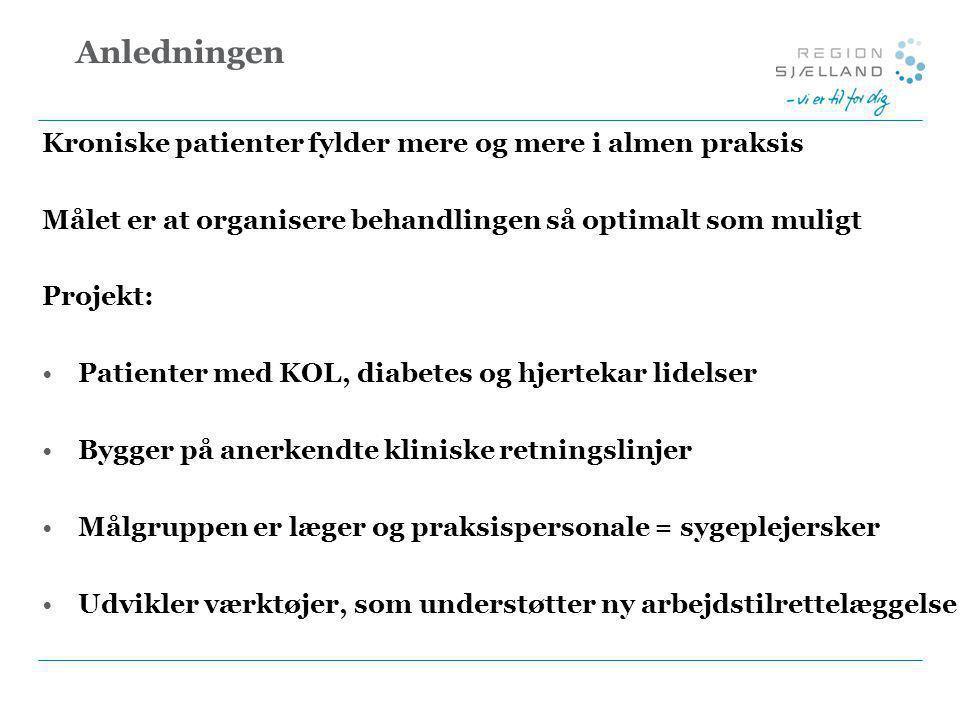 Anledningen Kroniske patienter fylder mere og mere i almen praksis Målet er at organisere behandlingen så optimalt som muligt Projekt: •Patienter med KOL, diabetes og hjertekar lidelser •Bygger på anerkendte kliniske retningslinjer •Målgruppen er læger og praksispersonale = sygeplejersker •Udvikler værktøjer, som understøtter ny arbejdstilrettelæggelse