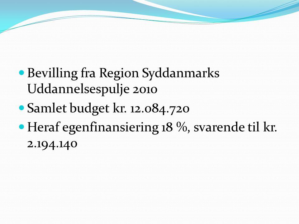  Bevilling fra Region Syddanmarks Uddannelsespulje 2010  Samlet budget kr.