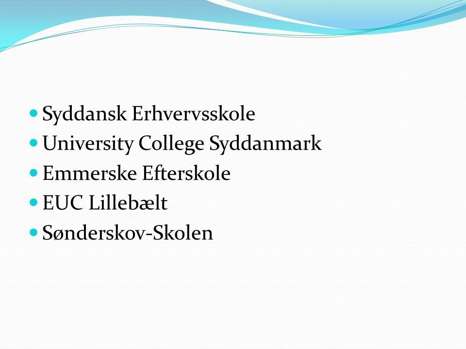  Syddansk Erhvervsskole  University College Syddanmark  Emmerske Efterskole  EUC Lillebælt  Sønderskov-Skolen
