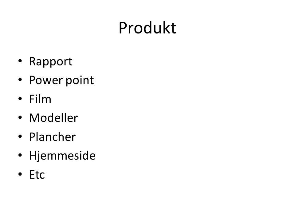 Produkt • Rapport • Power point • Film • Modeller • Plancher • Hjemmeside • Etc