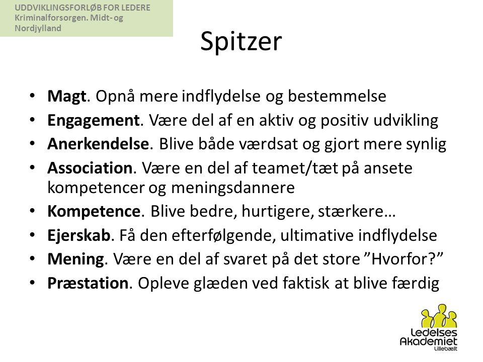UDDVIKLINGSFORLØB FOR LEDERE Kriminalforsorgen.Midt- og Nordjylland Spitzer • Magt.