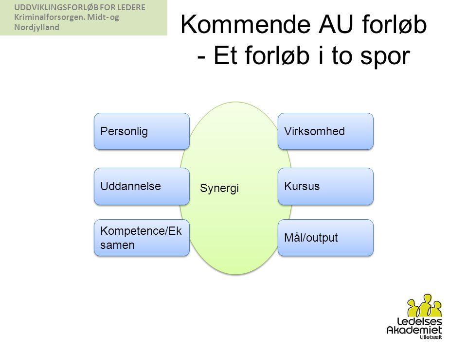 Synergi Kommende AU forløb - Et forløb i to spor Personlig Virksomhed Uddannelse Kursus Kompetence/Ek samen Mål/output