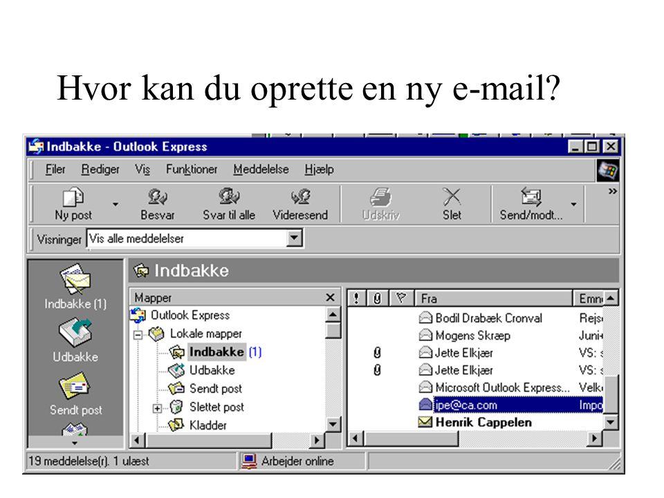 Hvor kan du oprette en ny e-mail