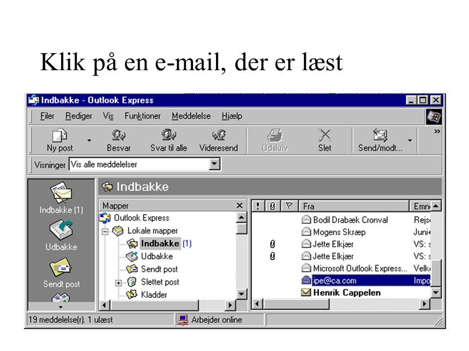 Klik på en e-mail, der er læst