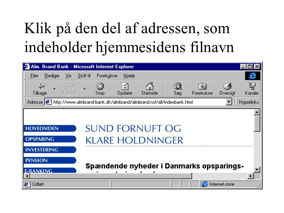 Klik på den del af adressen, som indeholder hjemmesidens filnavn