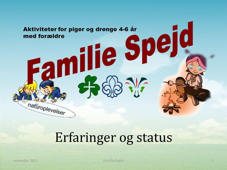Erfaringer og status Aktiviteter for piger og drenge 4-6 år med forældre naturoplevelser 1november 2011Familie Spejd