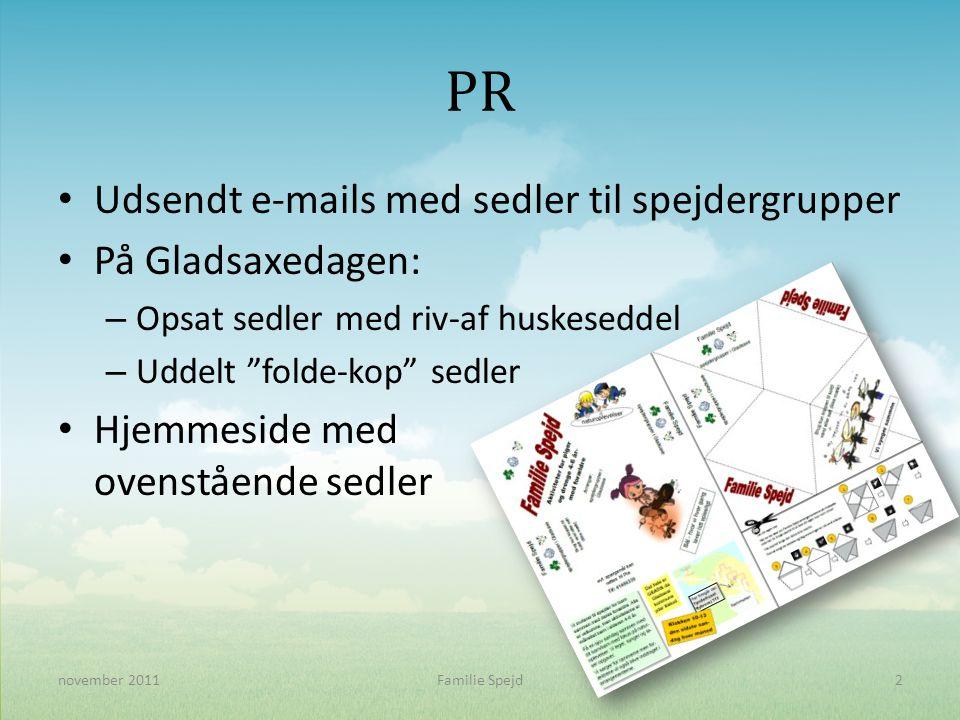 PR • Udsendt e-mails med sedler til spejdergrupper • På Gladsaxedagen: – Opsat sedler med riv-af huskeseddel – Uddelt folde-kop sedler • Hjemmeside med ovenstående sedler 2november 2011Familie Spejd