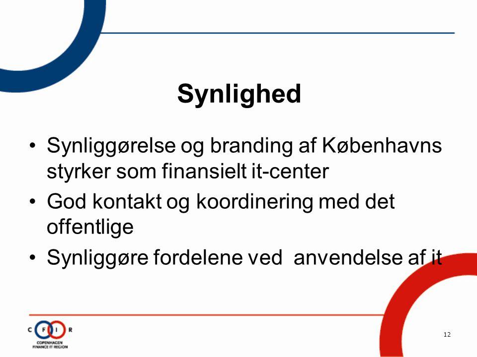 12 Synlighed •Synliggørelse og branding af Københavns styrker som finansielt it-center •God kontakt og koordinering med det offentlige •Synliggøre fordelene ved anvendelse af it