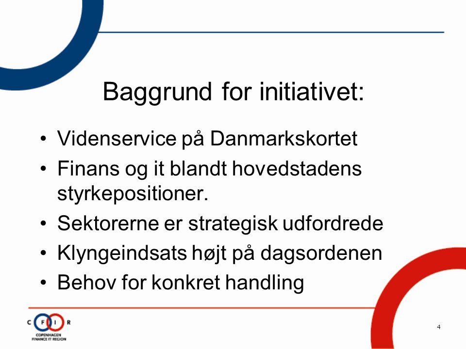 4 Baggrund for initiativet: •Videnservice på Danmarkskortet •Finans og it blandt hovedstadens styrkepositioner.