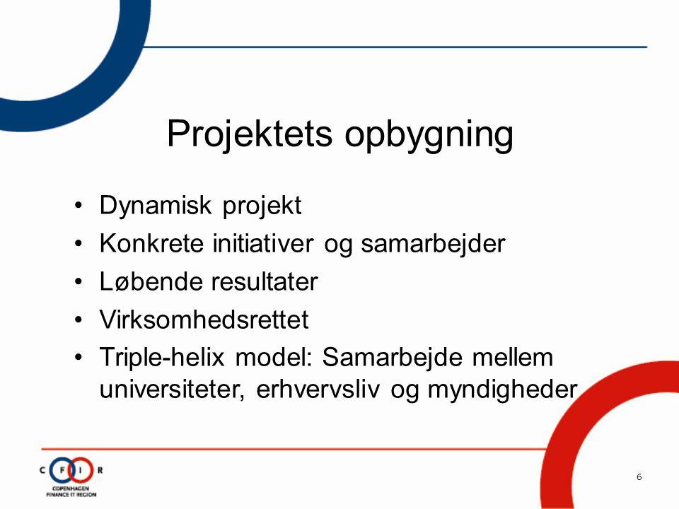 6 Projektets opbygning •Dynamisk projekt •Konkrete initiativer og samarbejder •Løbende resultater •Virksomhedsrettet •Triple-helix model: Samarbejde mellem universiteter, erhvervsliv og myndigheder