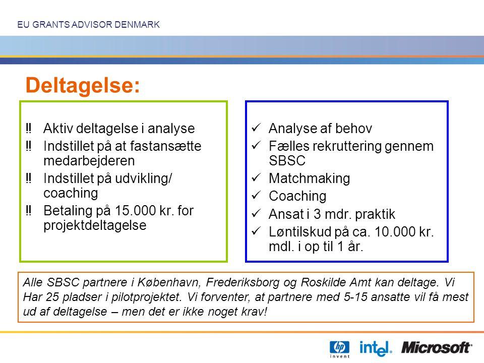 EU GRANTS ADVISOR DENMARK Deltagelse: ‼Aktiv deltagelse i analyse ‼Indstillet på at fastansætte medarbejderen ‼Indstillet på udvikling/ coaching ‼Betaling på 15.000 kr.