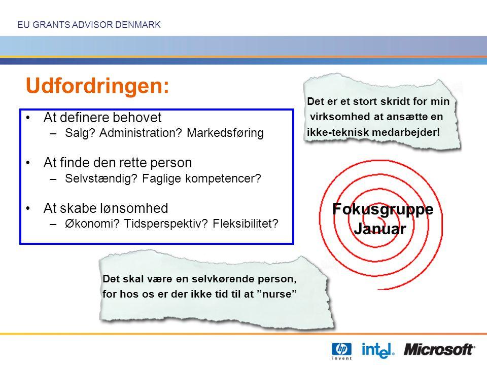 EU GRANTS ADVISOR DENMARK Udfordringen: •At definere behovet –Salg.