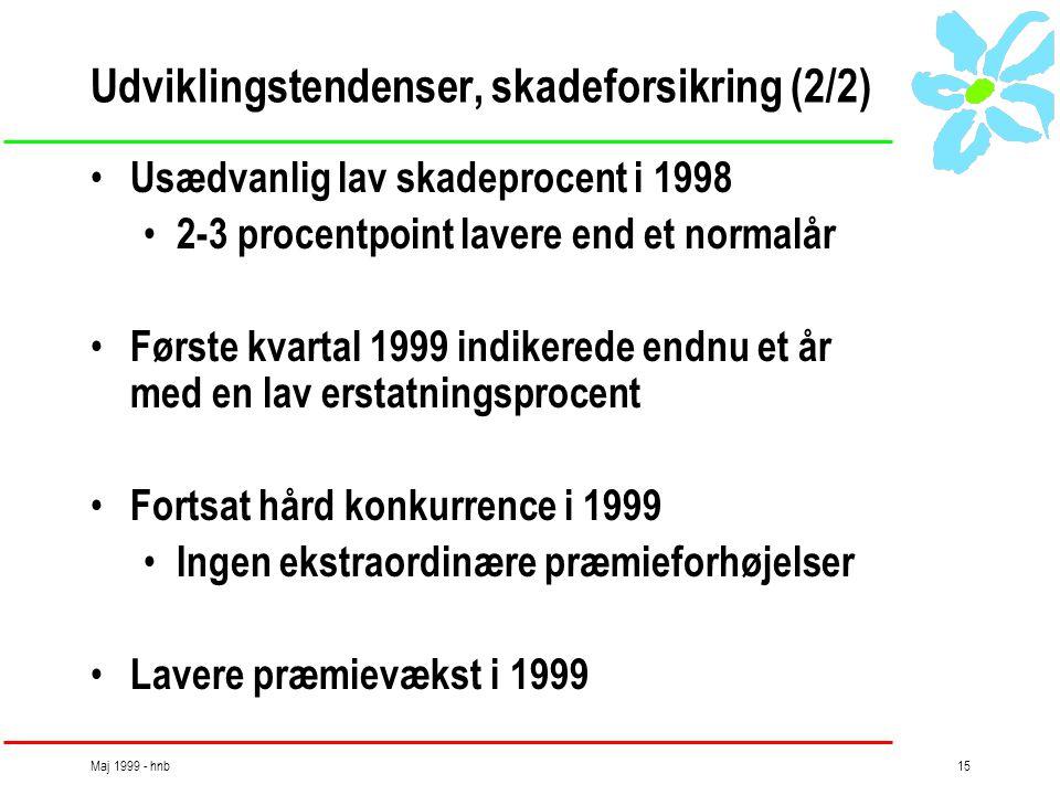 Maj 1999 - hnb15 Udviklingstendenser, skadeforsikring (2/2) • Usædvanlig lav skadeprocent i 1998 • 2-3 procentpoint lavere end et normalår • Første kvartal 1999 indikerede endnu et år med en lav erstatningsprocent • Fortsat hård konkurrence i 1999 • Ingen ekstraordinære præmieforhøjelser • Lavere præmievækst i 1999