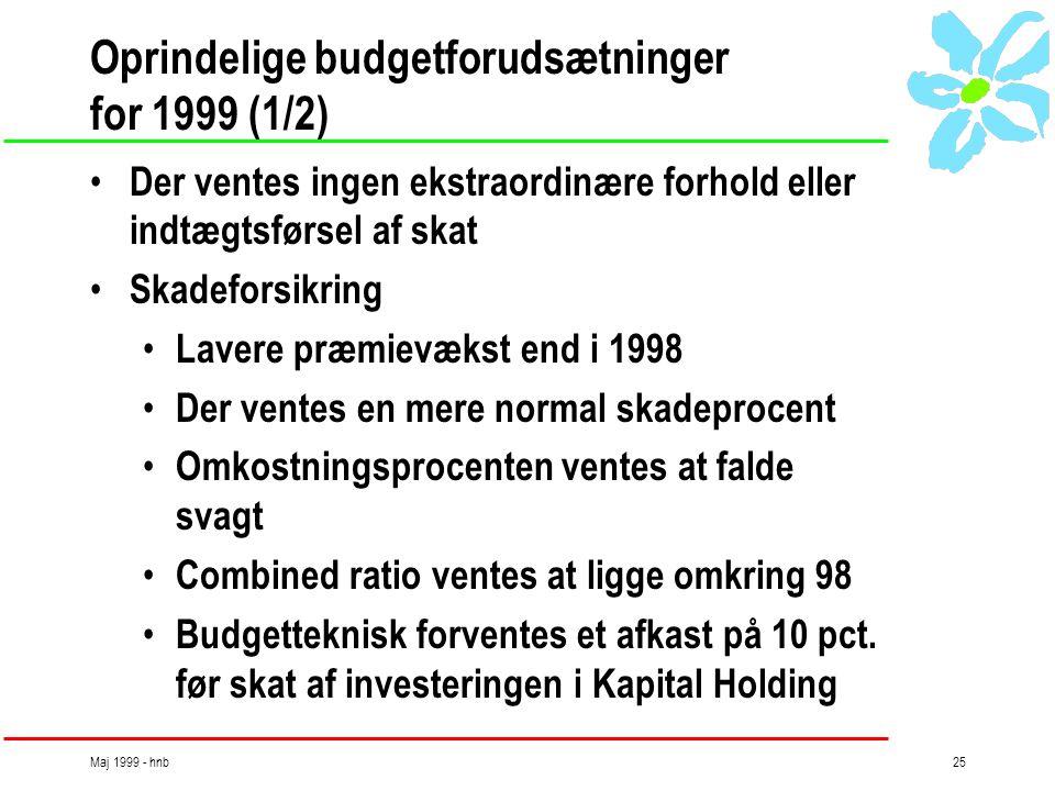 Maj 1999 - hnb25 Oprindelige budgetforudsætninger for 1999 (1/2) • Der ventes ingen ekstraordinære forhold eller indtægtsførsel af skat • Skadeforsikring • Lavere præmievækst end i 1998 • Der ventes en mere normal skadeprocent • Omkostningsprocenten ventes at falde svagt • Combined ratio ventes at ligge omkring 98 • Budgetteknisk forventes et afkast på 10 pct.