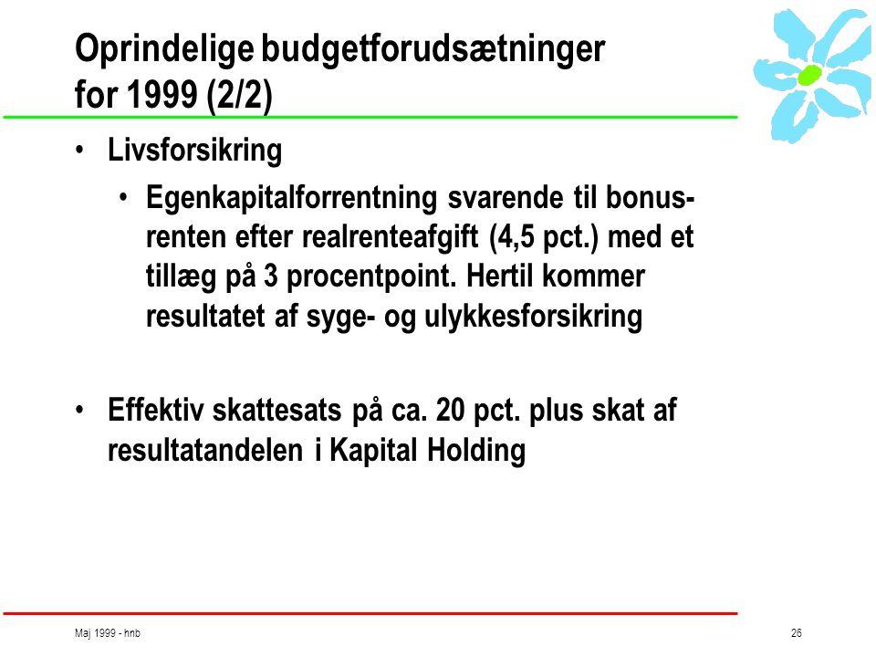 Maj 1999 - hnb26 Oprindelige budgetforudsætninger for 1999 (2/2) • Livsforsikring • Egenkapitalforrentning svarende til bonus- renten efter realrenteafgift (4,5 pct.) med et tillæg på 3 procentpoint.