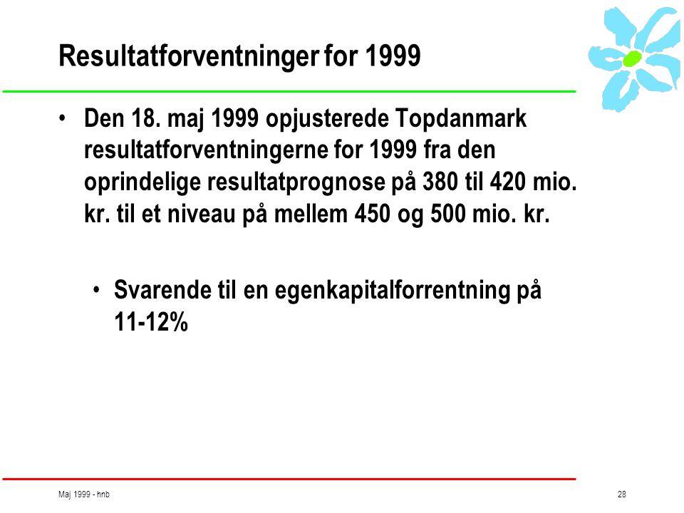 Maj 1999 - hnb28 Resultatforventninger for 1999 • Den 18.