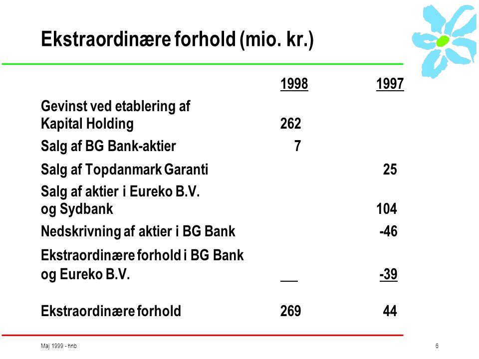 Maj 1999 - hnb6 Ekstraordinære forhold (mio.