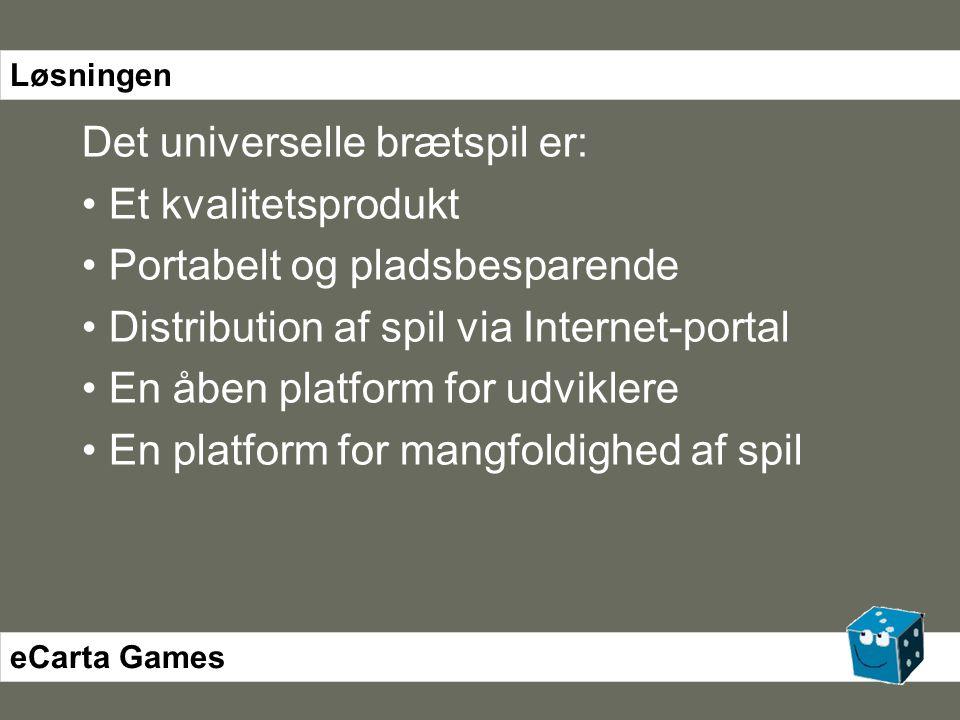 Det universelle brætspil er: • Et kvalitetsprodukt • Portabelt og pladsbesparende • Distribution af spil via Internet-portal • En åben platform for udviklere • En platform for mangfoldighed af spil eCarta Games Løsningen