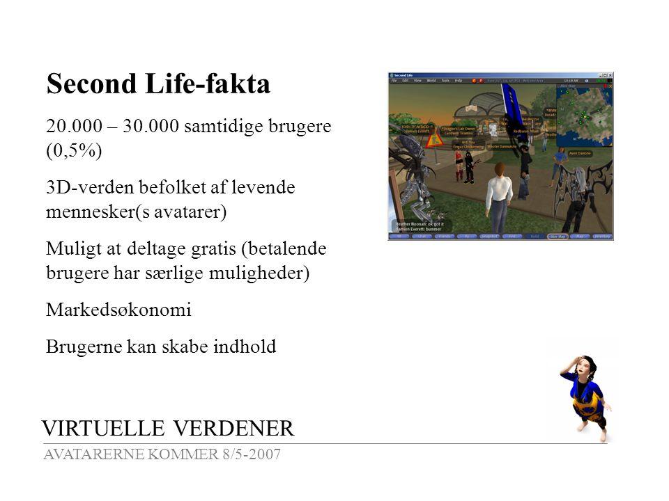 VIRTUELLE VERDENER AVATARERNE KOMMER 8/5-2007 Second Life-fakta 20.000 – 30.000 samtidige brugere (0,5%) 3D-verden befolket af levende mennesker(s avatarer) Muligt at deltage gratis (betalende brugere har særlige muligheder) Markedsøkonomi Brugerne kan skabe indhold