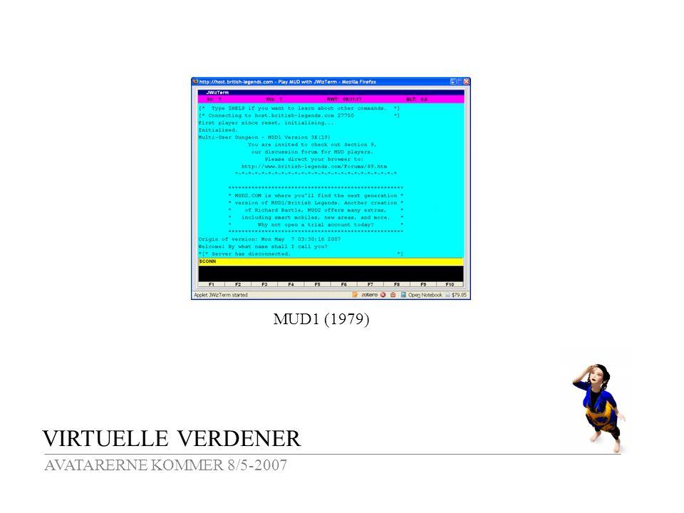 VIRTUELLE VERDENER AVATARERNE KOMMER 8/5-2007 MUD1 (1979)