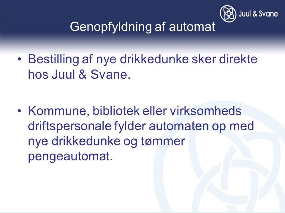 Genopfyldning af automat •Bestilling af nye drikkedunke sker direkte hos Juul & Svane.