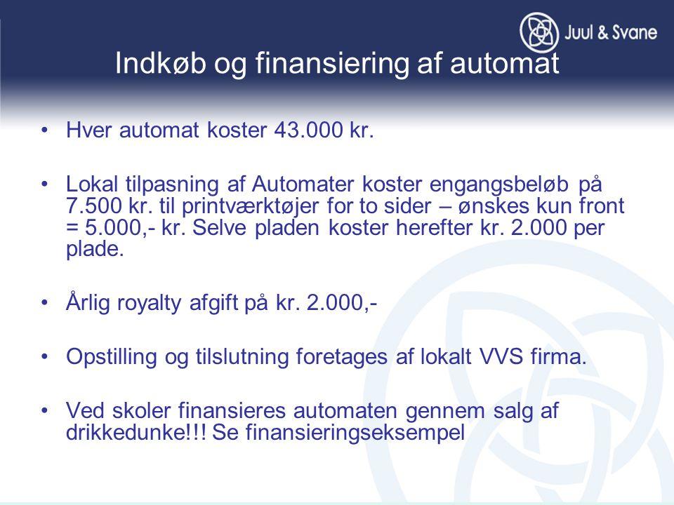Indkøb og finansiering af automat •Hver automat koster 43.000 kr.