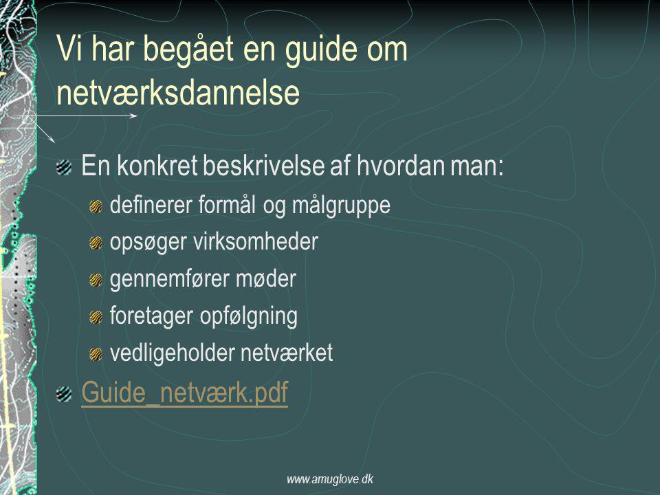 www.amuglove.dk Vi har begået en guide om netværksdannelse En konkret beskrivelse af hvordan man: definerer formål og målgruppe opsøger virksomheder gennemfører møder foretager opfølgning vedligeholder netværket Guide_netværk.pdf