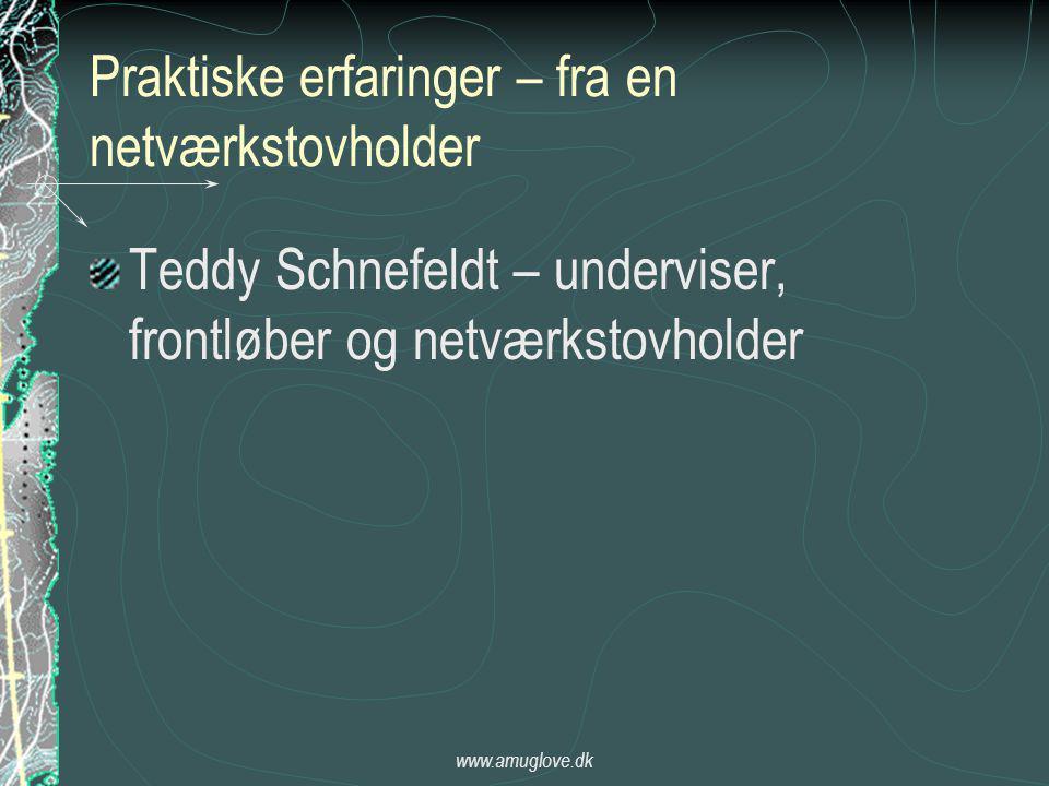 www.amuglove.dk Praktiske erfaringer – fra en netværkstovholder Teddy Schnefeldt – underviser, frontløber og netværkstovholder