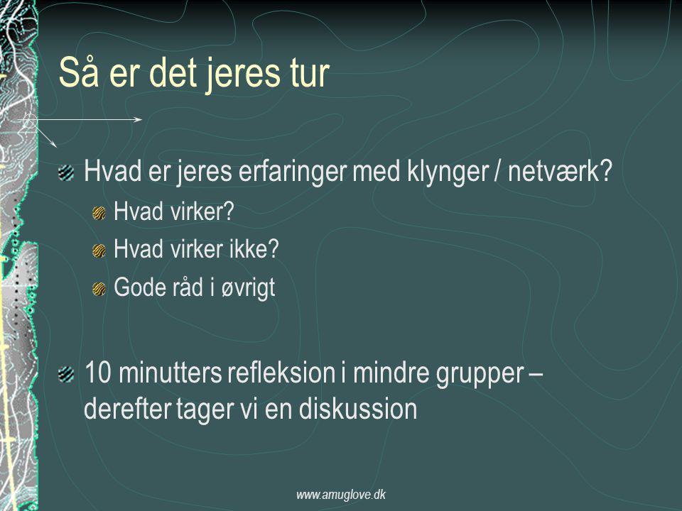 www.amuglove.dk Så er det jeres tur Hvad er jeres erfaringer med klynger / netværk.