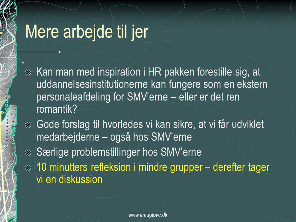 www.amuglove.dk Mere arbejde til jer Kan man med inspiration i HR pakken forestille sig, at uddannelsesinstitutionerne kan fungere som en ekstern personaleafdeling for SMV'erne – eller er det ren romantik.
