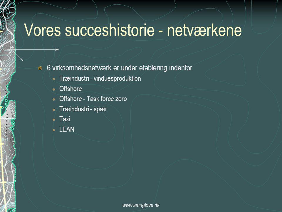 www.amuglove.dk Vores succeshistorie - netværkene 6 virksomhedsnetværk er under etablering indenfor  Træindustri - vinduesproduktion  Offshore  Offshore - Task force zero  Træindustri - spær  Taxi  LEAN