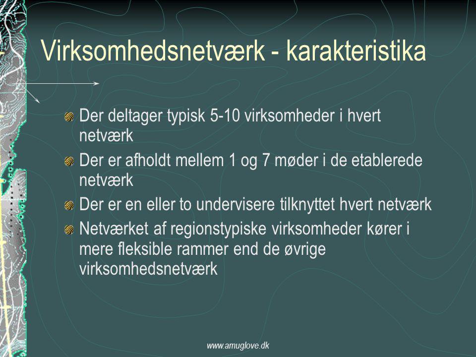 www.amuglove.dk Virksomhedsnetværk - karakteristika Der deltager typisk 5-10 virksomheder i hvert netværk Der er afholdt mellem 1 og 7 møder i de etablerede netværk Der er en eller to undervisere tilknyttet hvert netværk Netværket af regionstypiske virksomheder kører i mere fleksible rammer end de øvrige virksomhedsnetværk