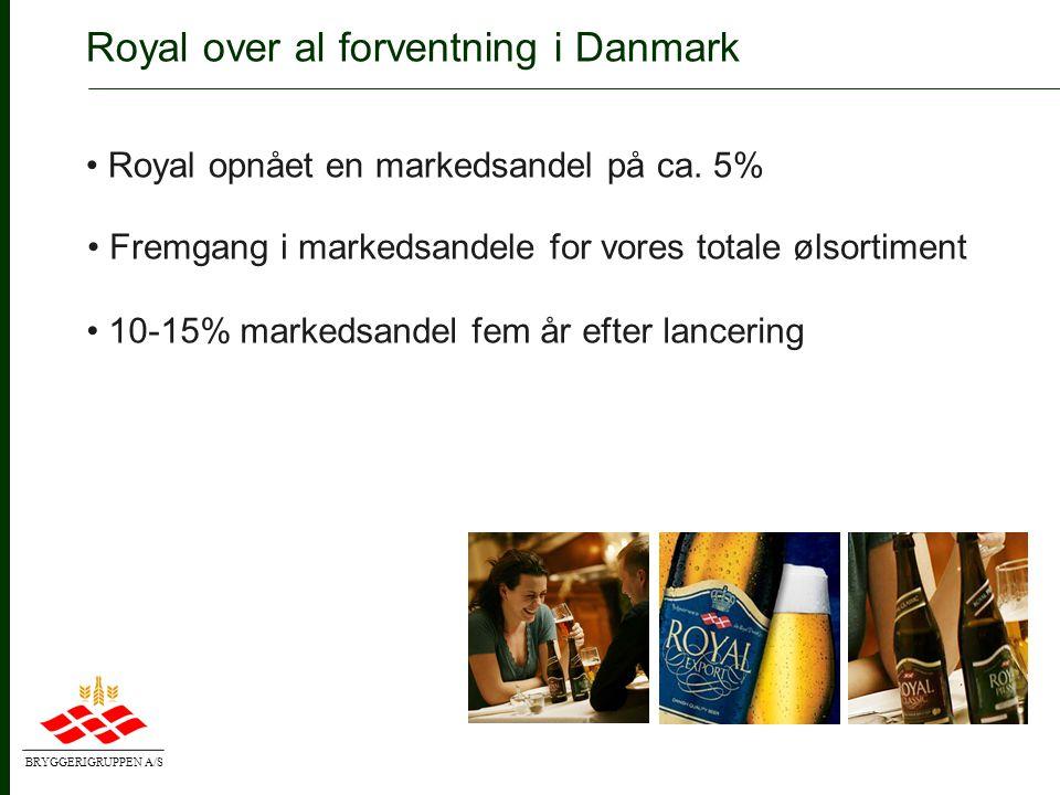 BRYGGERIGRUPPEN A/S • Fortsat styrkelse af Royal i Danmark • Udbygning af vores skandinaviske alliance • Videreudvikling af pan-nordiske kunder Lønsom vækst i Norden • Produkt- og mærkeudvikling • Øget kunde- og salgsfokus (Customer Excellence)