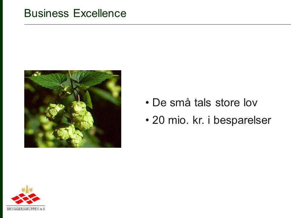 BRYGGERIGRUPPEN A/S Customer Excellence • Nærhed i markedet og effektivitet i logistikken • Markedsfokusering og effektivitet i salget • Ændringer i salgsorganisationen • Insourcing af ca.