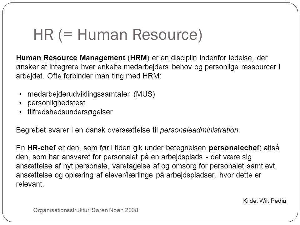 HR (= Human Resource) 20 Human Resource Management (HRM) er en disciplin indenfor ledelse, der ønsker at integrere hver enkelte medarbejders behov og