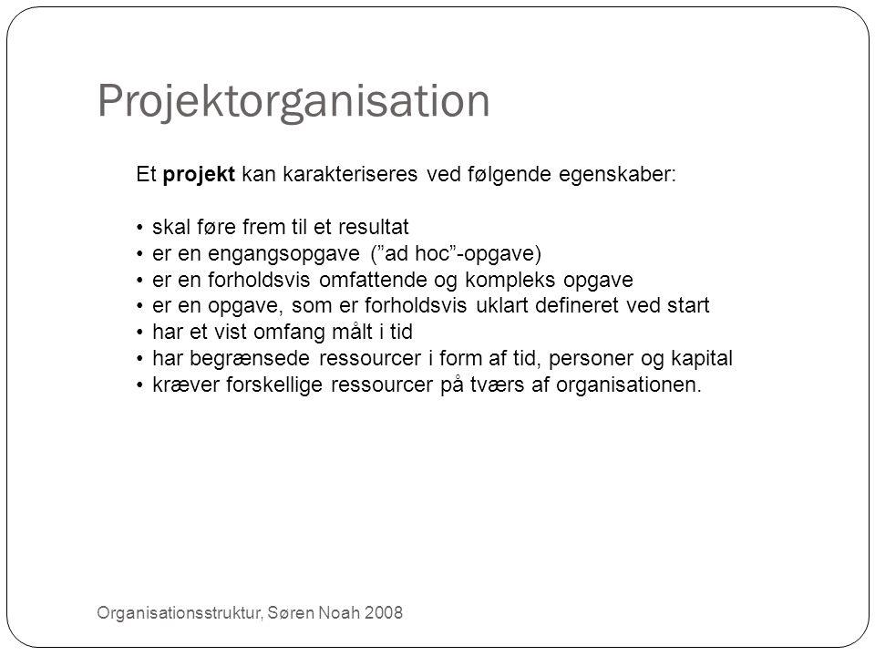 """Projektorganisation 22 Et projekt kan karakteriseres ved følgende egenskaber: •skal føre frem til et resultat •er en engangsopgave (""""ad hoc""""-opgave) •"""
