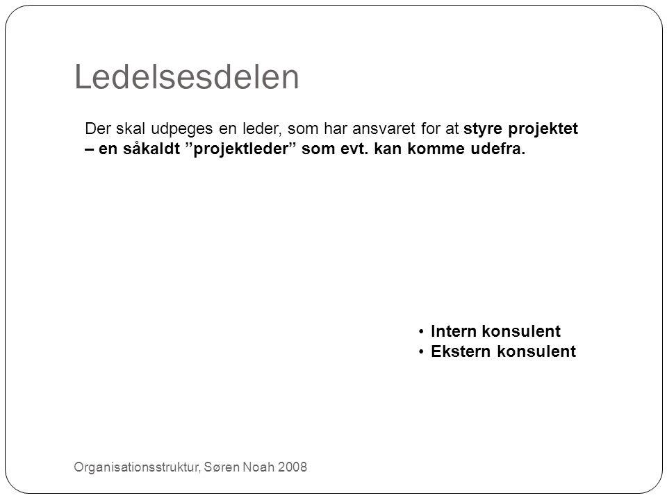 """Ledelsesdelen 26 Der skal udpeges en leder, som har ansvaret for at styre projektet – en såkaldt """"projektleder"""" som evt. kan komme udefra. •Intern kon"""