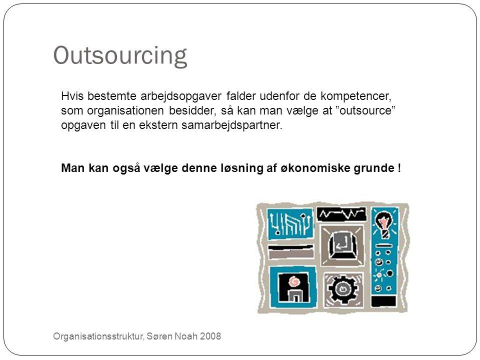 """Outsourcing 27 Hvis bestemte arbejdsopgaver falder udenfor de kompetencer, som organisationen besidder, så kan man vælge at """"outsource"""" opgaven til en"""